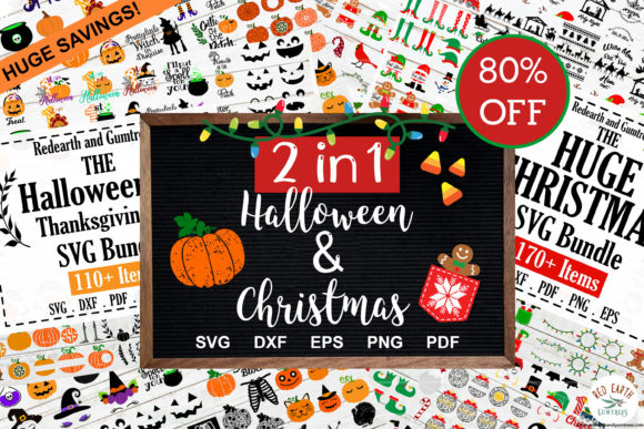 2 in 1 Huge Christmas & Halloween Bundle Graphic Crafts By redearth and gumtrees