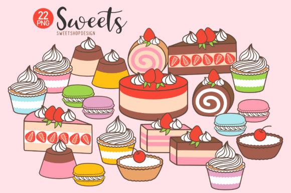 22 Sweets Cake Graphic Illustrations By Sweet Shop Design