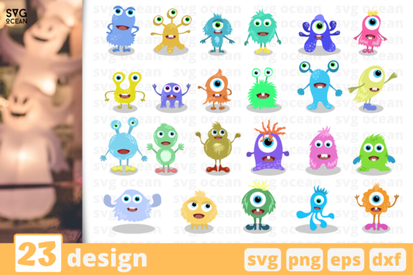 23 Cute Monsters Designs Bundle Graphic Crafts By SvgOcean