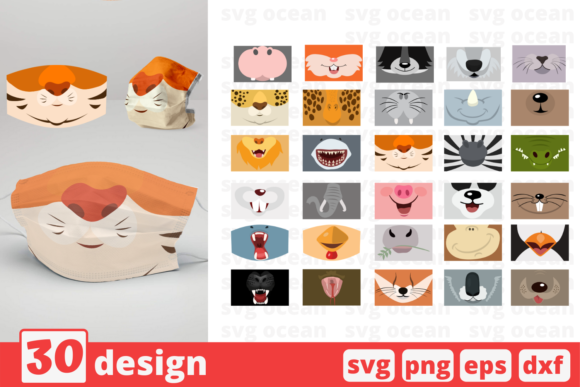 Print on Demand: 30 Animal Mouth Design Bundle Graphic Crafts By SvgOcean