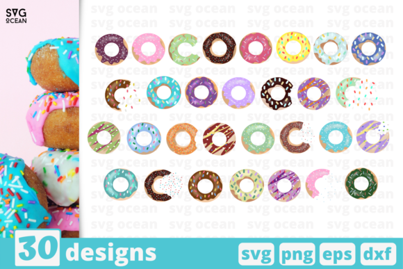 Print on Demand: 30 Donuts Designs Bundle Graphic Crafts By SvgOcean