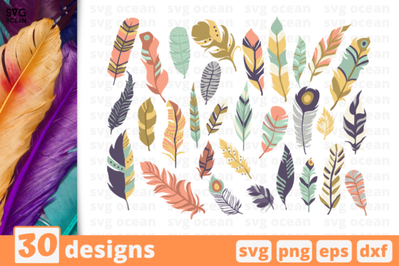 Print on Demand: 30 Feathers Design Bundle Graphic Crafts By SvgOcean
