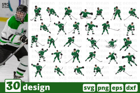 Print on Demand: 30 Hockey Designs Bundle Graphic Crafts By SvgOcean