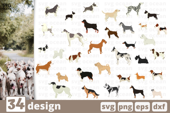 Print on Demand: 34 Dogs Designs Bundle Graphic Crafts By SvgOcean