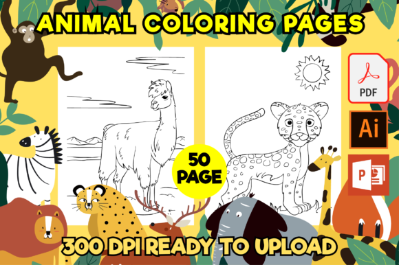 Print on Demand: 50 Animal Coloring Pages for Kids Gráfico Libros para colorear - Niños Por MK DESIGNS