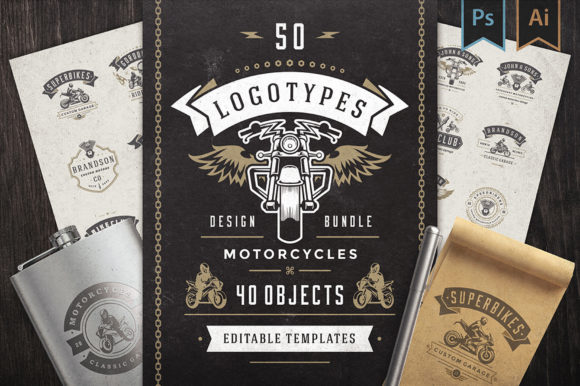 50 Motorcycles Logos and Badges Graphic Logos By vasyako1984
