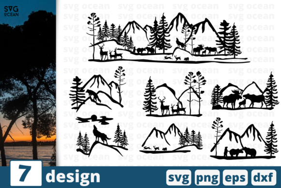 Print on Demand: 7 Nature Silhouettes Design Bundle Graphic Crafts By SvgOcean