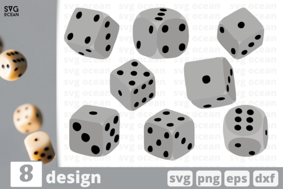 Print on Demand: 8 Dices Designs Bundle Graphic Crafts By SvgOcean