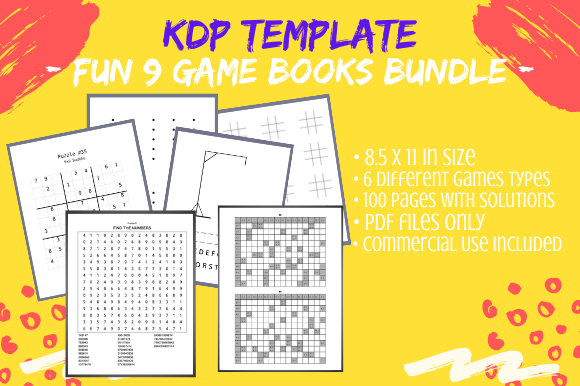 Print on Demand: 9 Fun Games Activity Books KDP Bundle Graphic KDP Interiors By Tomboy Designs