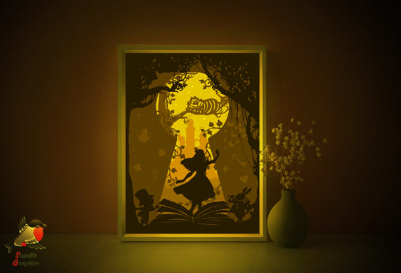 Alice in Wonderland Light Box Template Graphic 3D Shadow Box By SweetieGraphics