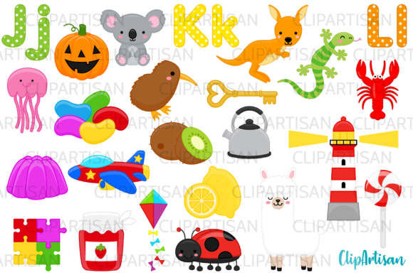 Alphabet Clip Art, ABC Illustrations JKL Graphic Illustrations By ClipArtisan