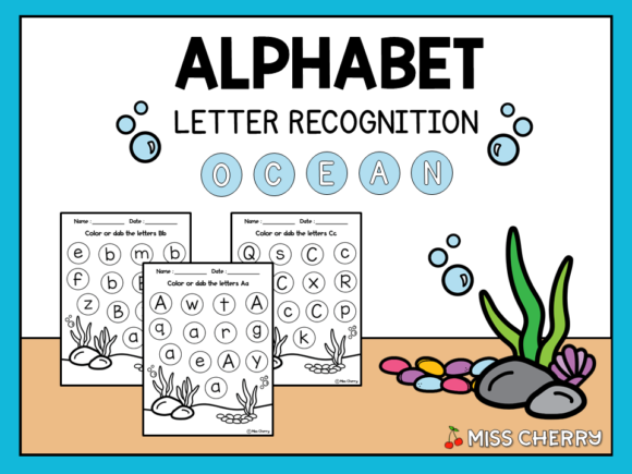 Alphabet Letter Recognition Ocean Themed Graphic K By Miss Cherry Designs