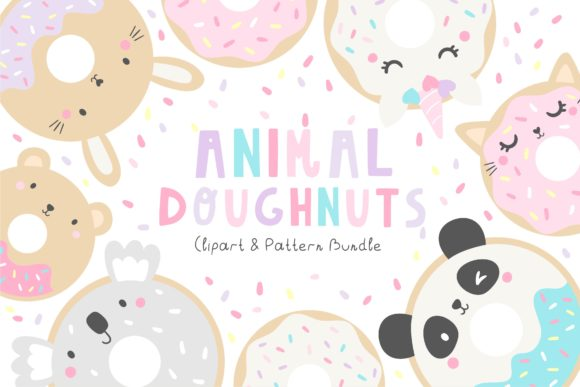 Animal Doughnuts Pattern and Graphic Set Graphic Illustrations By dottyink