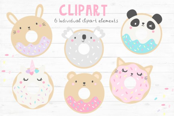Animal Doughnuts Pattern and Graphic Set Graphic Illustrations By dottyink - Image 2