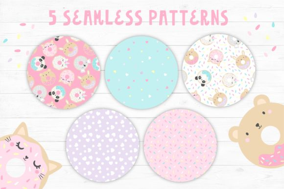 Animal Doughnuts Pattern and Graphic Set Graphic Item
