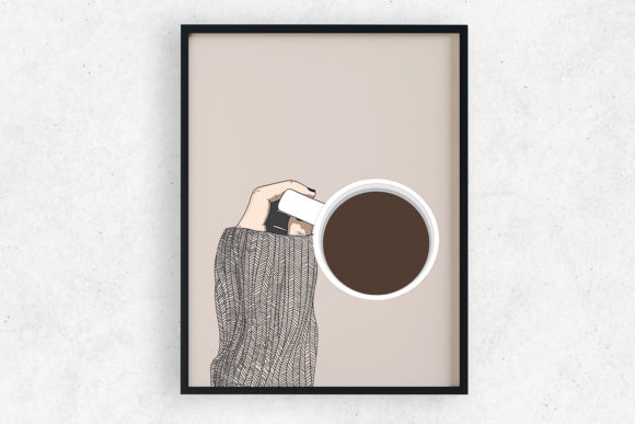 Art Print | Wall Art Handheld Coffee Cup Graphic Illustrations By Saydung89