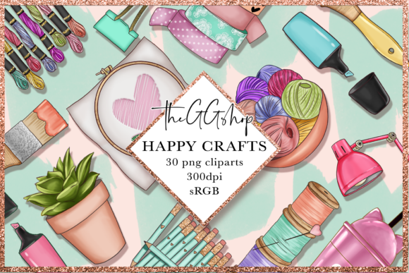 Print on Demand: Arts & Crafts Clipart Set Grafik Illustrationen von TheGGShop