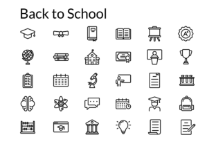 Back to School Icon Set with Line Style Graphic Icons By Mutualism Icon