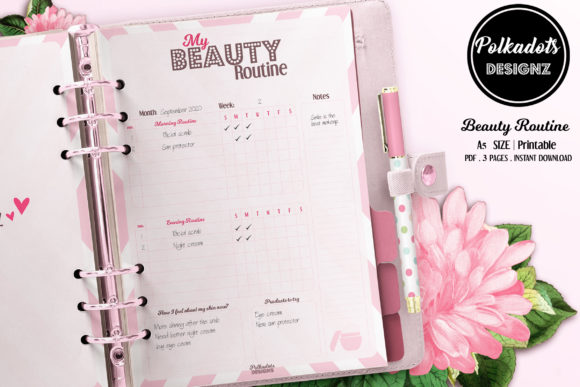 Beauty Routine Planner - Pink Hearts Graphic Print Templates By Polkadots Designz
