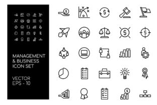Business and Management Icon Set Graphic Icons By Hoeda80