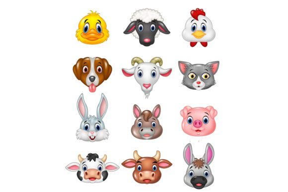 Cartoon Animal Head Vector Set Graphic Illustrations By tigatelusiji
