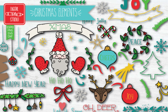 Christmas Decorative Elements Color Graphic Illustrations By Digital_Draw_Studio