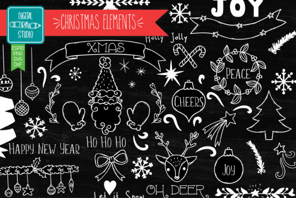 Christmas Decorative Elements White Graphic Illustrations By Digital_Draw_Studio