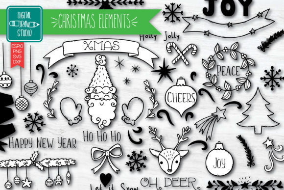 Christmas Elements | Decorative Holiday Graphic Illustrations By Digital_Draw_Studio