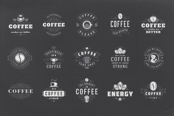 Coffee Quotes and Phrases Set Graphic Logos By vasyako1984 - Image 2