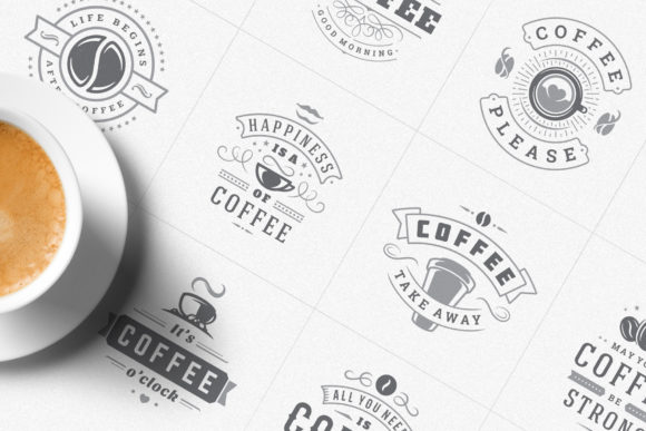 Coffee Quotes and Phrases Set Graphic Logos By vasyako1984 - Image 3