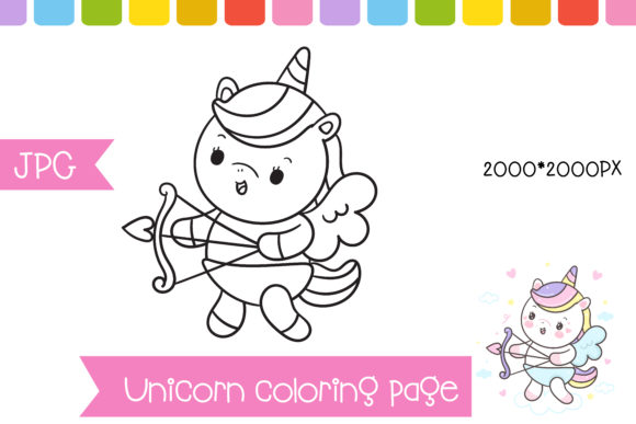 Coloring Unicorn Cupid Page Preschool Graphic Coloring Pages & Books Kids By vividdiy8