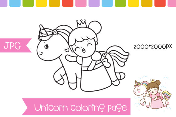 Coloring Unicorn Princess Page Preschool Graphic Coloring Pages & Books Kids By vividdiy8