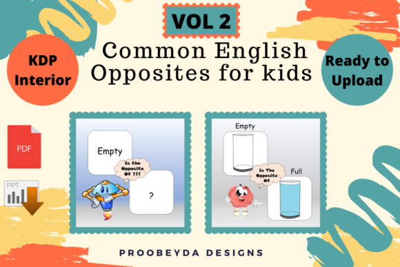 Print on Demand: Common English Opposites for Kids Vol.2 Graphic 1st grade By Proobeyda - Image 2