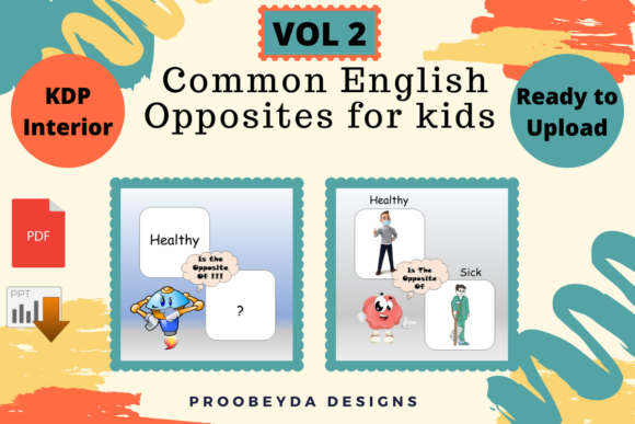 Print on Demand: Common English Opposites for Kids Vol.2 Graphic 1st grade By Proobeyda - Image 3