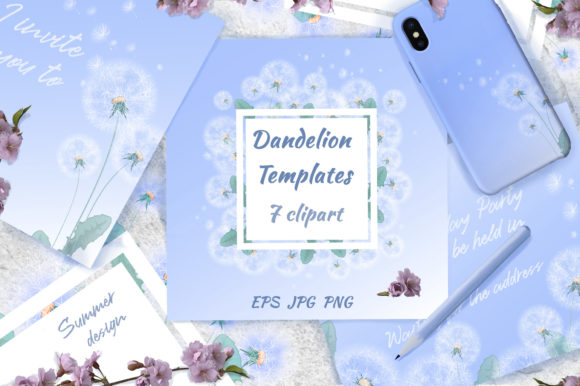 Dandelions Ready-made Card Templates Graphic Illustrations By Maycat