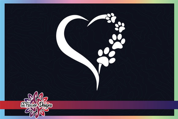 Dog Pawprint Cat Pawprint Heart Graphic Graphic Crafts By ssflower
