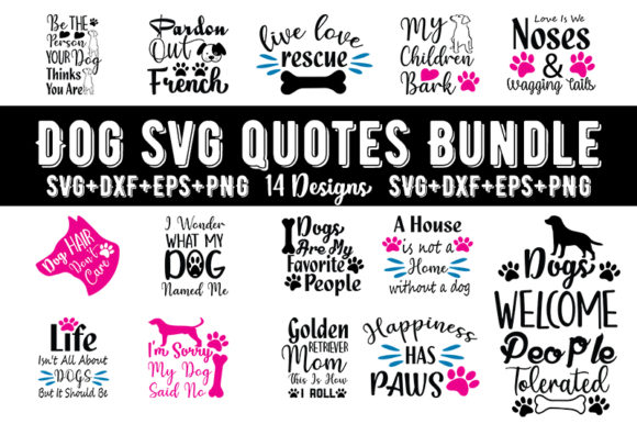 Print on Demand: Dog Quotes Bundle Graphic Print Templates By Design_store