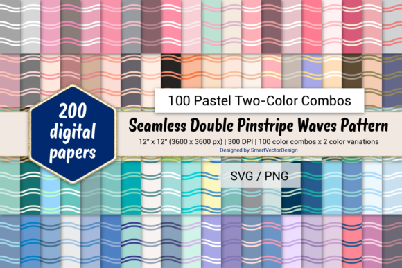 Print on Demand: Double Pinstripe Waves-Two-Color Pastels Graphic Backgrounds By SmartVectorDesign
