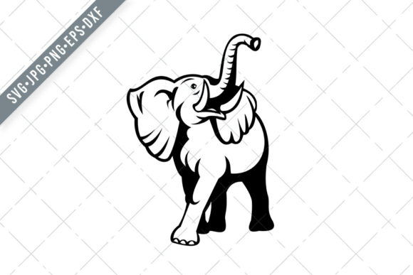 Print on Demand: Elephant with Long Tusk Mascot Graphic Illustrations By patrimonio