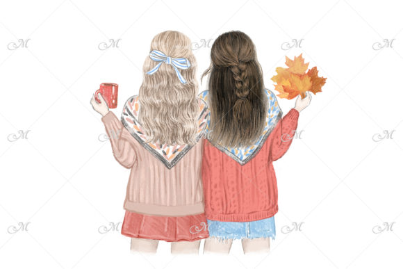 Fall Best Friends Illustration Graphic Illustrations By MaddyZ