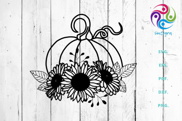 Print on Demand: Fall Pumpkin with Sun Flower   Graphic Crafts By Sintegra