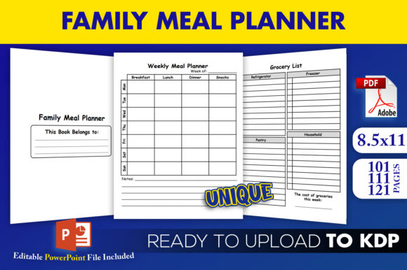 Print on Demand: Family Weekly Meal Planner KDP Interior Graphic KDP Interiors By Beast Designer