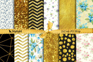 Print on Demand: Floral Gold Background Papers Graphic Patterns By CatgoDigital