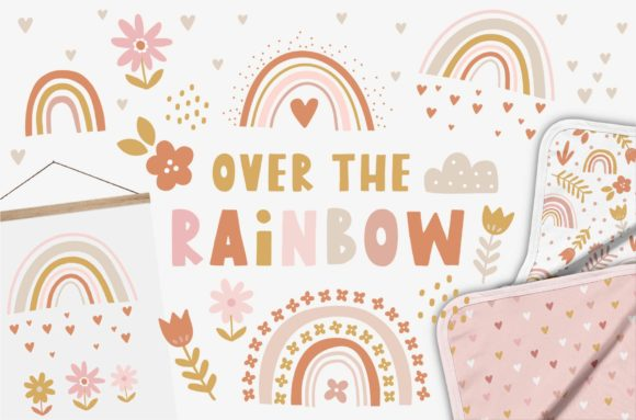 Floral Rainbow Pattern and Graphic Set Graphic Illustrations By dottyink