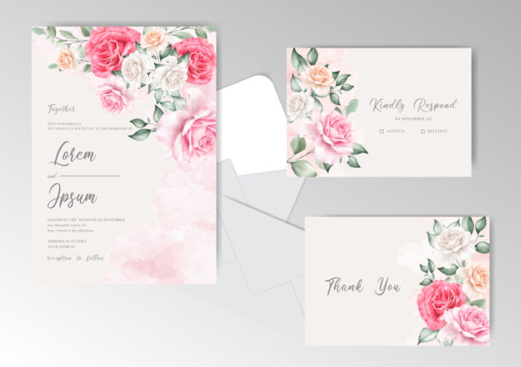 Print on Demand: Floral Wedding Invitation Card Template Graphic Print Templates By FederiqoEND