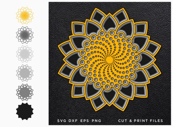 Flower Cut File Mandala Graphic 3D SVG By 2dooart