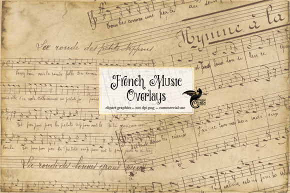 Print on Demand: French Music Overlays Grafik Texturen von Digital Curio