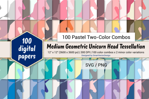 Print on Demand: Geom Unicorn Paper - 100 Two-Color Pastels Graphic Backgrounds By SmartVectorDesign