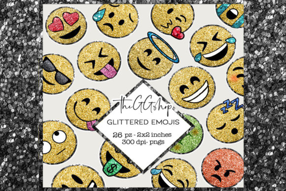 Print on Demand: Glitter Emoji Clipart Set Graphic Illustrations By TheGGShop
