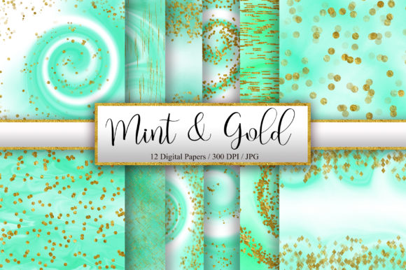 Green Mint Ombre Gold Glitter Background Graphic Backgrounds By PinkPearly